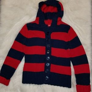 Mossimo Thick Knit Red & Blue Striped Cardigan